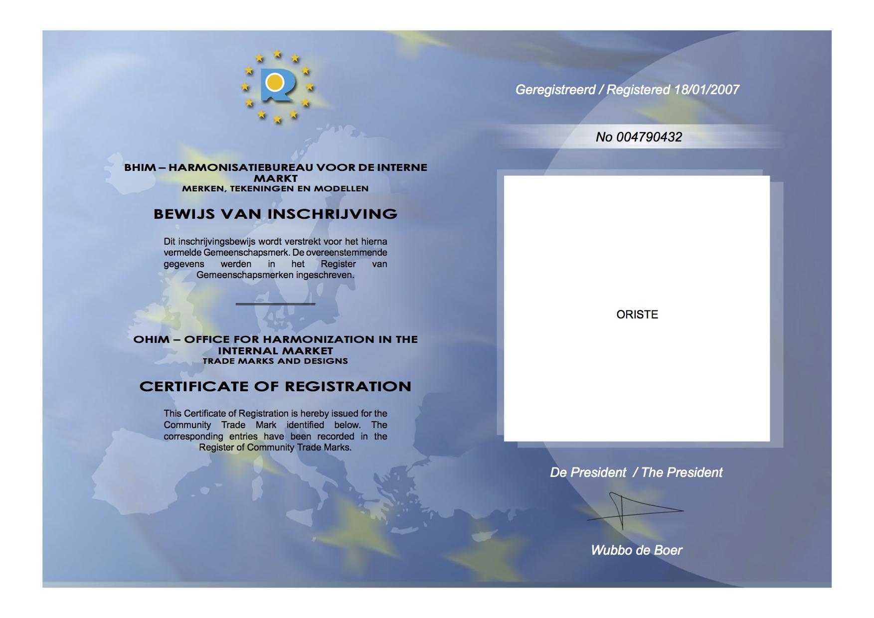 oriste-trademark-certificate